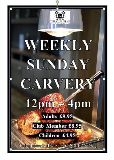 Sunday Carvery at the Old Nene Golf & Country Club